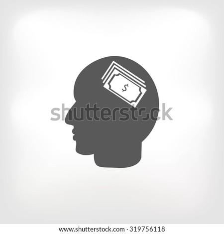Head with dollar symbol icon - stock vector