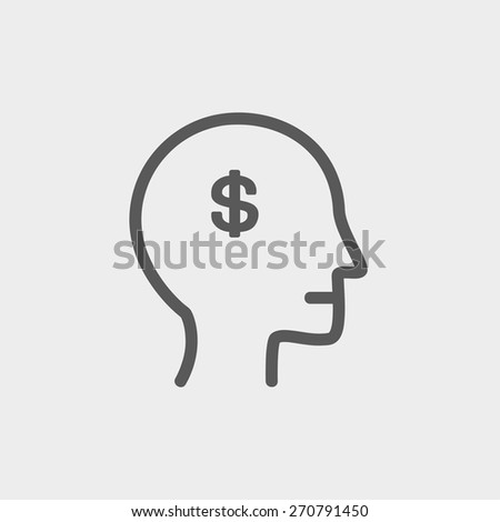 Head with dollar symbol icon thin line for web and mobile, modern minimalistic flat design. Vector dark grey icon on light grey background. - stock vector