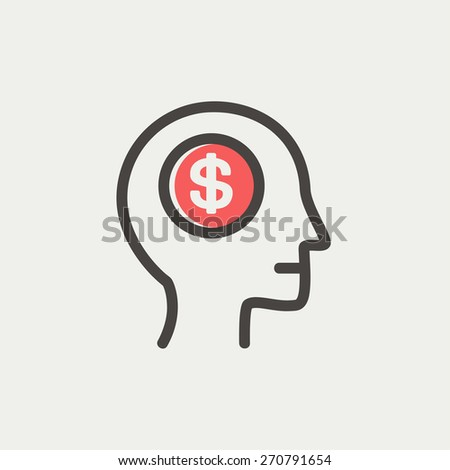 Head with dollar symbol icon thin line for web and mobile, modern minimalistic flat design. Vector icon with dark grey outline and offset colour on light grey background. - stock vector