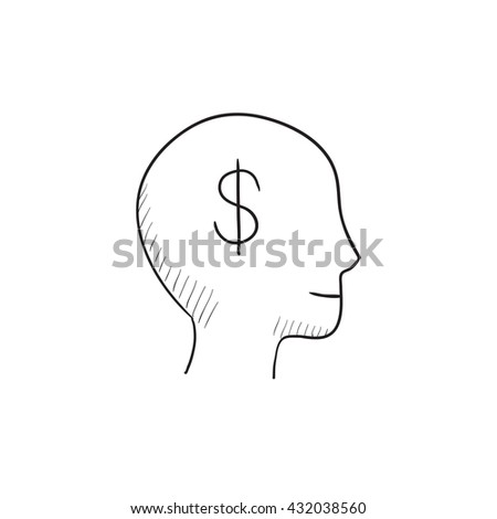 Head with dollar symbol  vector sketch icon isolated on background. Hand drawn Head with dollar symbol  icon. Head with dollar symbol  sketch icon for infographic, website or app. - stock vector