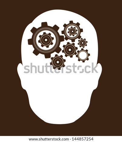 head with gear over brown background vector illustration - stock vector