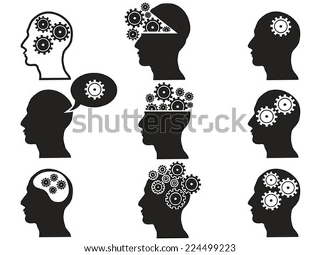 head with gears icon set