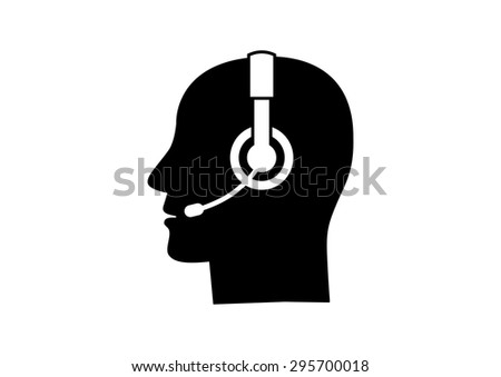Head with headphones on white background - stock vector