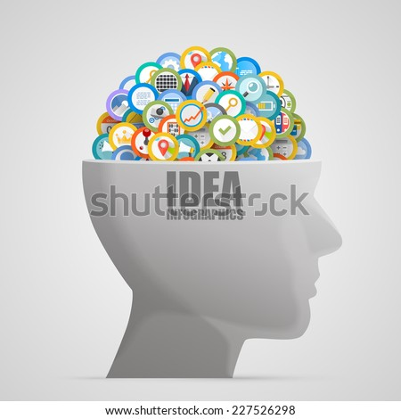 Head with icons in the brain. Vector illustration - stock vector