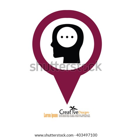 Head with idea. Conceptual image.thought process.vector  illustration - stock vector