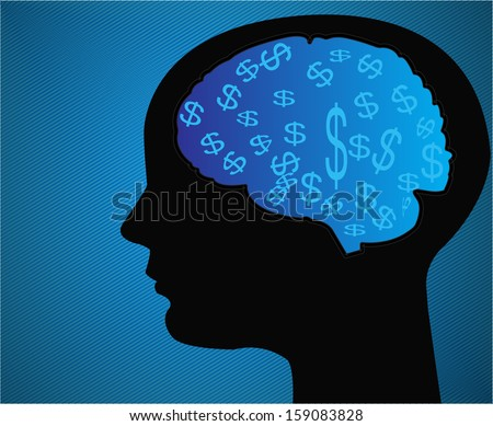 Head with money - stock vector