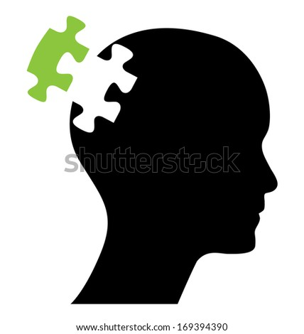 Head with one green missing piece of puzzle. Abstract editable eps10 vector design. Raster available in my portfolio.  - stock vector