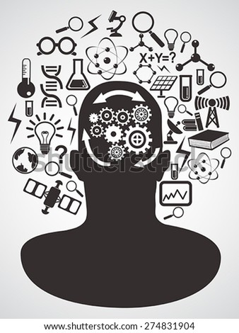 head with science icons set - stock vector