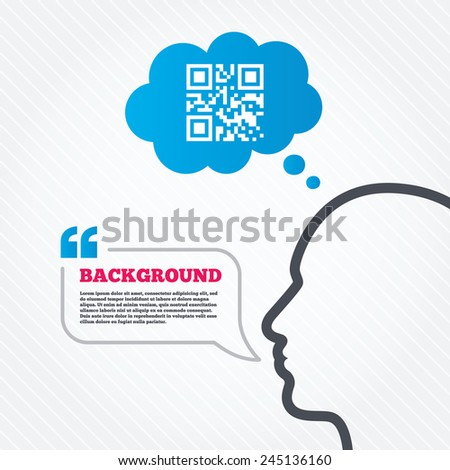 Head with speech bubble. Qr code sign icon. Scan code symbol. Coded word - success! Think background with quotes and seamless texture. Vector - stock vector