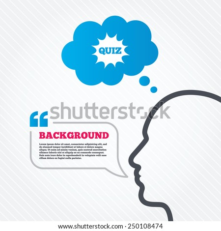 Head with speech bubble. Quiz boom speech bubble sign icon. Questions and answers game symbol. Think background with quotes and seamless texture. Vector - stock vector