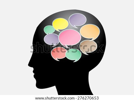 head with Speech Bubbles. brain idea concept. technology template for computer graphic website internet and business. circuit. text box set. Silhouette. Infographics. vector. think