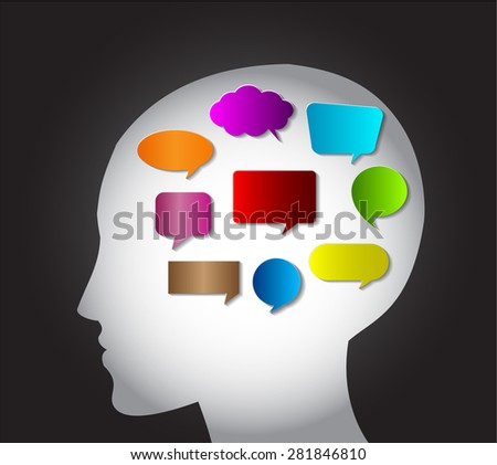 head with Speech Bubbles. brain idea concept. technology template for computer graphic website internet and business. circuit. text box set. Silhouette. Infographics. vector. think.