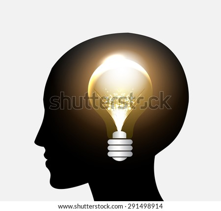 head with Speech Bubbles. brain idea concept. technology template for computer graphic website internet and business. circuit. text box set. Silhouette. Infographics. vector. think. brown lamp