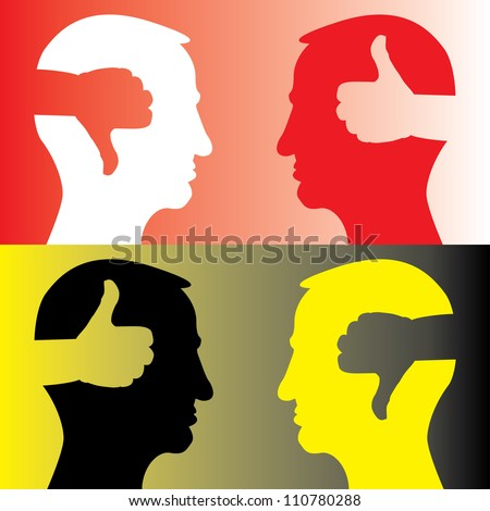 head with thumb up and thumbs down - illustration - stock vector