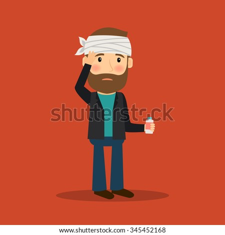 Headache man with bandage on his head and medicine. Vector illustration. - stock vector