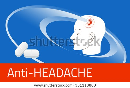 Headache relief medicine. Medication packing design template. Illustration of pills against pain in head - stock vector
