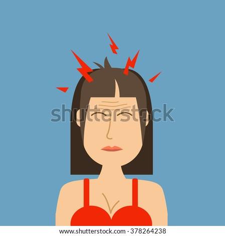 Headache woman vector illustration. Pills against headache. Causes of headache infographics.Woman with a headache concept. Head pain illustration. - stock vector