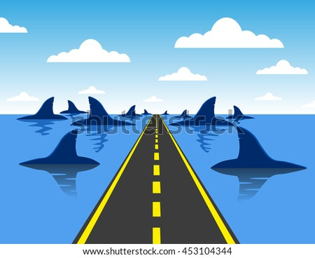 Headed for danger business concept  on a straight road towards a group of dangerous sharks as a metaphor and symbol of risk and courage from a person on a career path or life journey - stock vector
