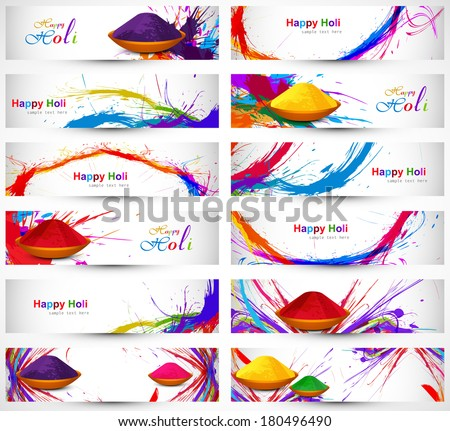 Header and banner set happy holi beautiful indian festival colorful collection design vector - stock vector
