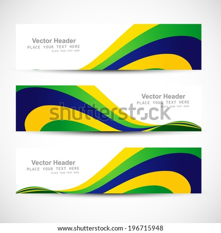 Header set brazil flag colors three colorful wave illustration vector - stock vector