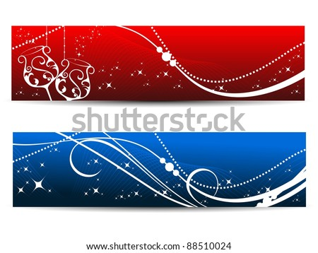headers for new year with wave background - stock vector