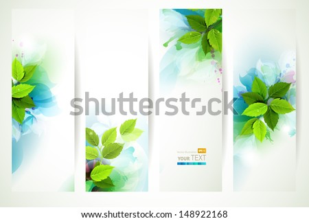 headers with fresh green leaves  - stock vector