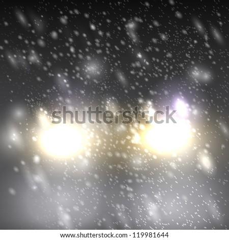 Headlights in blowing snow, vector eps - stock vector