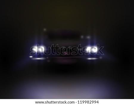 headlights in the dark, vector eps - stock vector