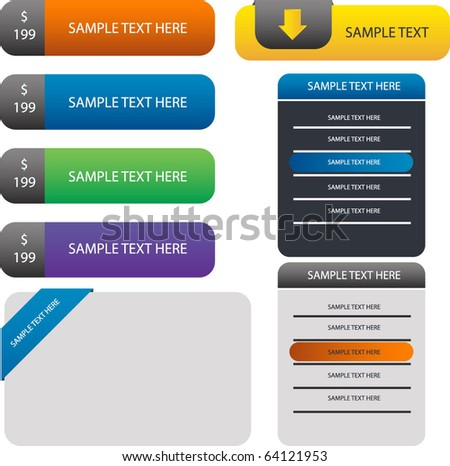 headline banner ,web form and buttons - stock vector