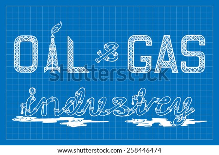 Headline designs for various presentations on oil and gas industry topics. EPS10 vector illustration imitating blueprint style scribbling with white marker. - stock vector