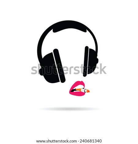 headphone and lips color vector illustration - stock vector