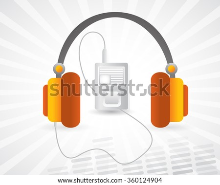 Headphone and music player. Vector draw illustration, new style music player and headphone.  - stock vector