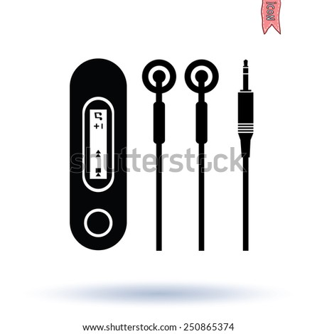 Headphone and USB MP3 Player, hand drawn illustration.   - stock vector