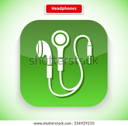 Headphone app icon flat style design. Music and headphones isolated, earphone and headphones icon, technology audio sound, listen device, gadget equipment illustration - stock vector