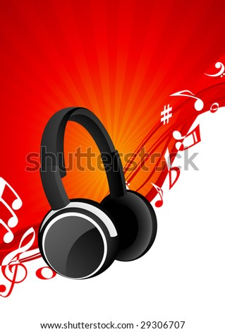 Headphone background, vector illustration, EPS file included - stock vector