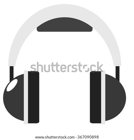 Headphone flat icon sound audio concept illustration - stock vector