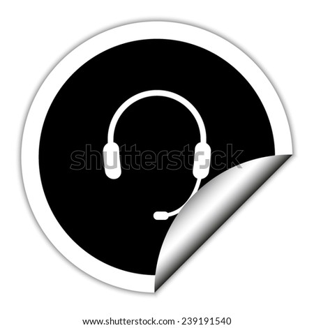 Headphone for support or service - black vector icon. Round sticker.
