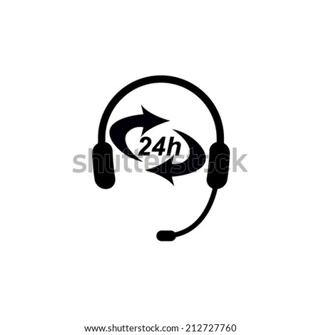Headphone for support or service - icon isolated on white  - stock vector