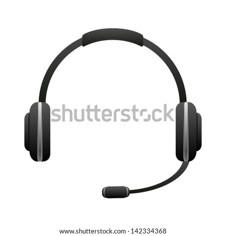 Headphone for support or service - icon isolated on white background. Vector. - stock vector