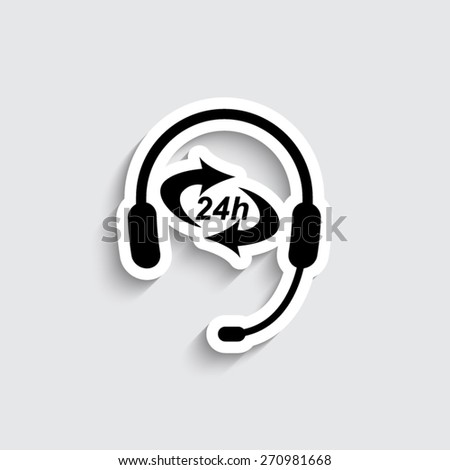 Headphone for support or service  - vector icon - stock vector
