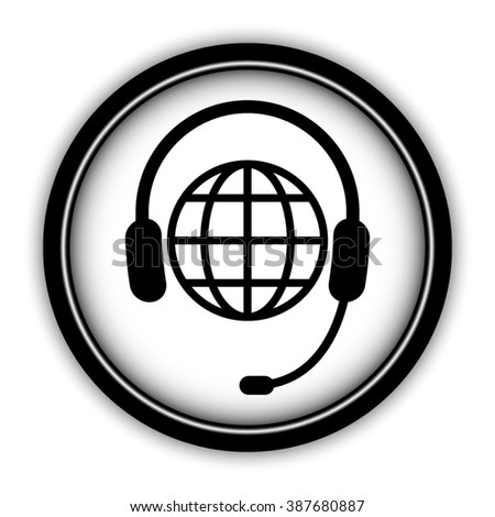 Headphone for support or service - vector icon; round  button with shadow