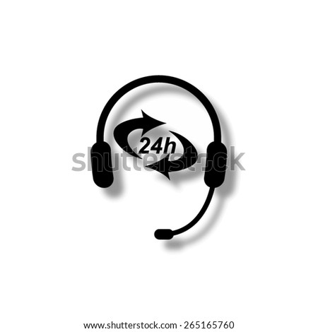 Headphone for support or service  - vector icon with shadow - stock vector