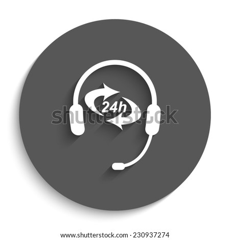 Headphone for support or service - vector icon with shadow on a round grey button - stock vector