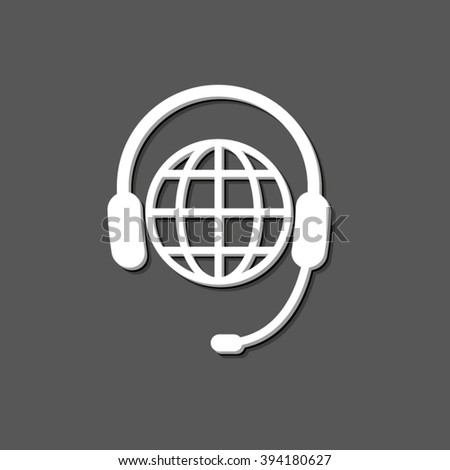 Headphone for support or service - white vector icon  with shadow