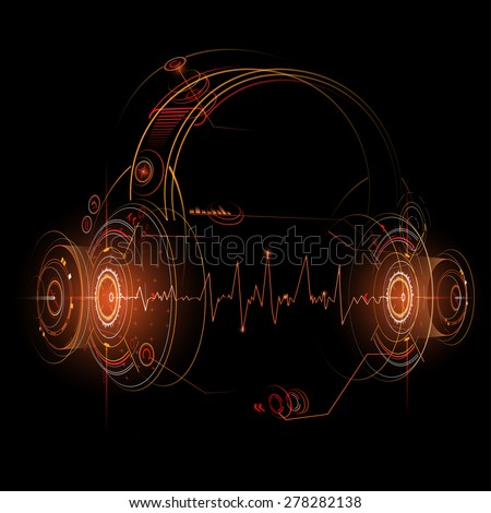 Headphone futuristic illustration - stock vector
