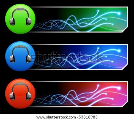 Headphone Icon on Multi Colored Button Set Original Illustration - stock vector