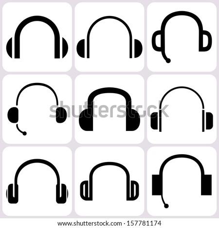 headphone icons set - stock vector