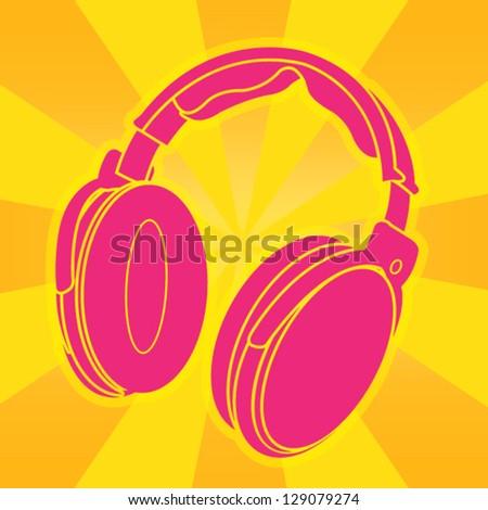 Headphone Illustration - stock vector