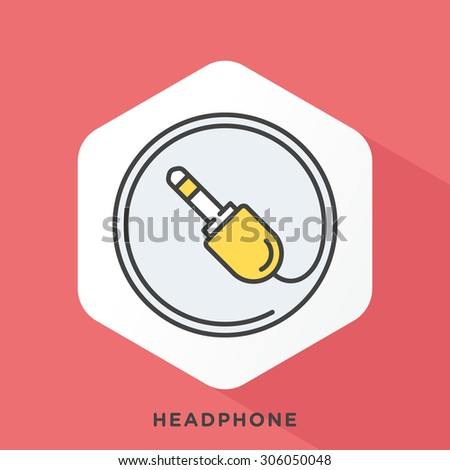 Headphone jack icon with dark grey outline and offset flat colors. Modern style minimalistic vector illustration for headphones, reviews and price comparisons. - stock vector