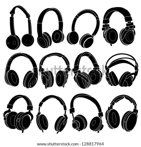Headphone Silhouettes Set in vectors - stock vector